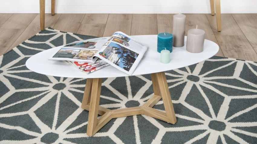 Table basse blanche et bois scandinave
