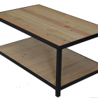 Table basse verre metal bois