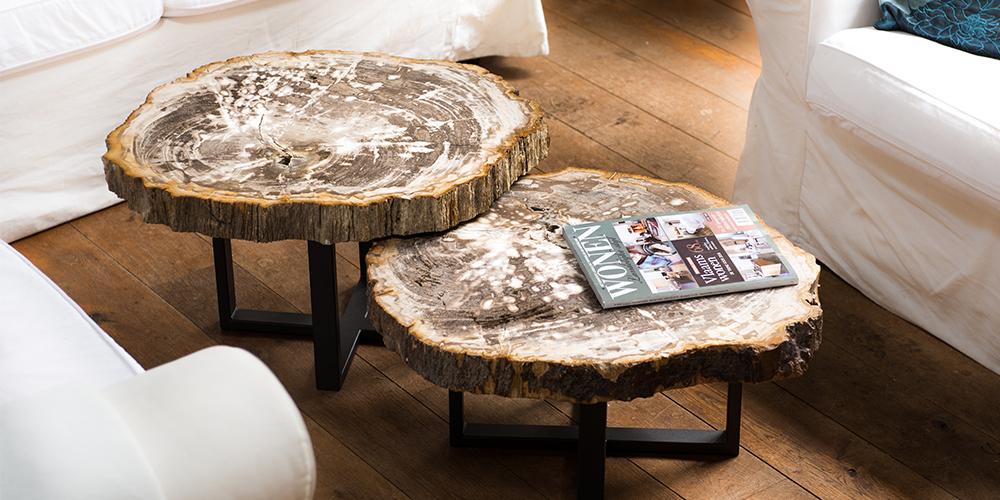 Table basse en bois petrifie