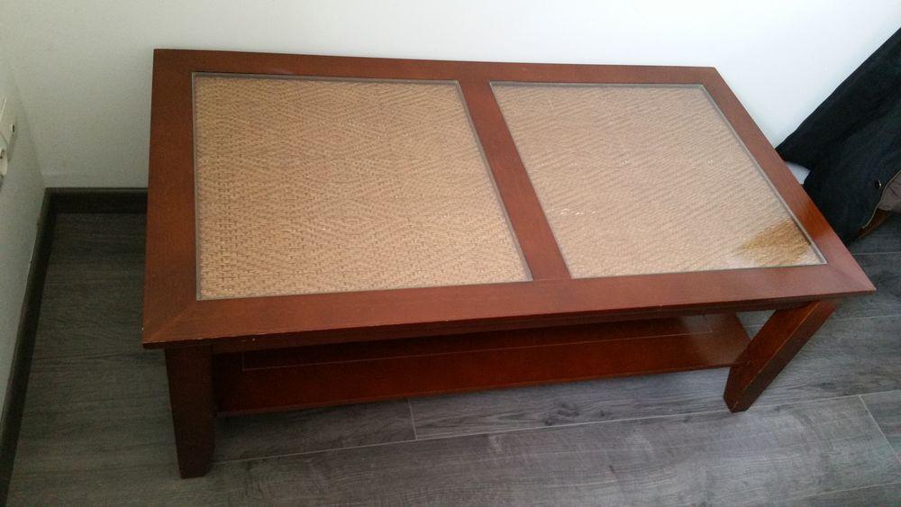 Table basse bois et verre occasion