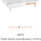 Table basse scandinave 2 tiroirs blanche – artic