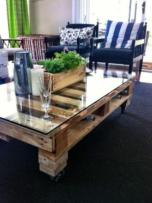 Table basse salon avec palette