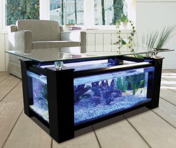 Donne table basse aquarium