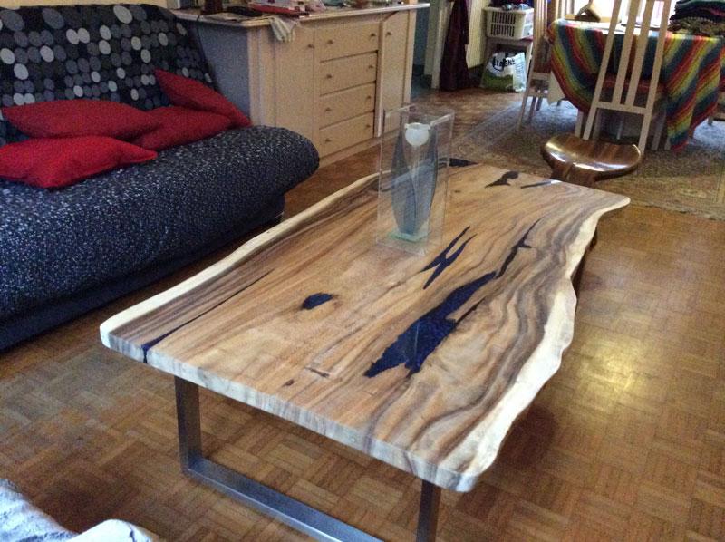 Table basse tronc bois