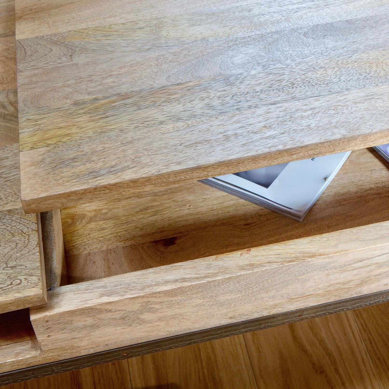 Table basse bois et metal et verre