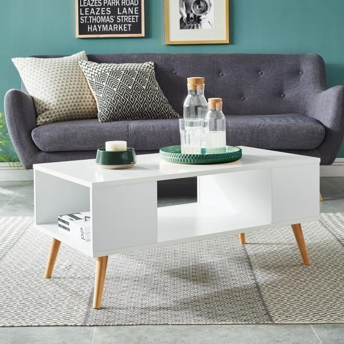 Babette table basse scandinave pieds en eucalyptus - l 90 x p 45 cm