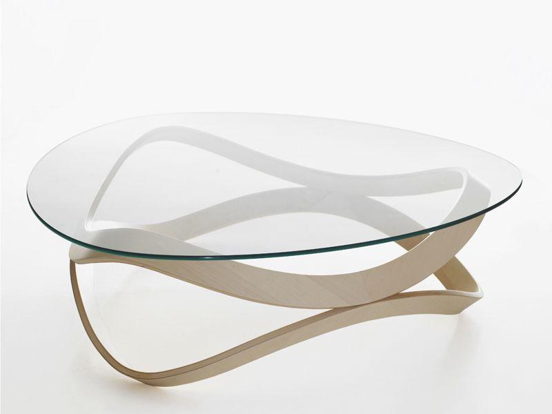 Table basse ronde verre bois