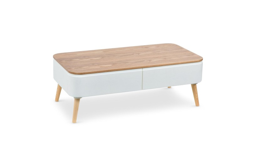 Table basse scandinave ronde forme plateau gris