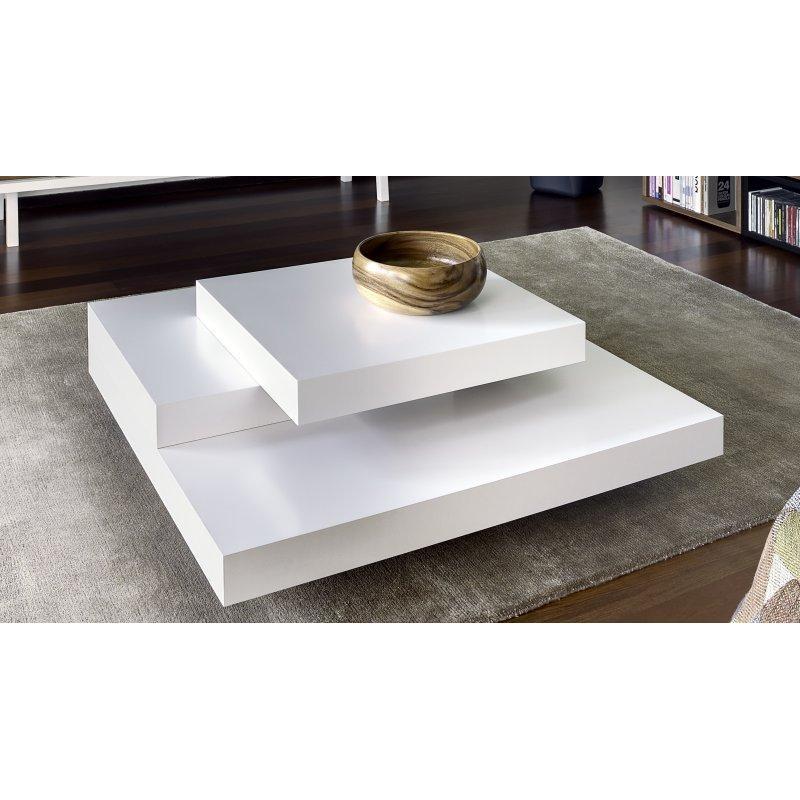 Table basse carrée blanche bois