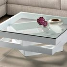 Table basse carre bois verre