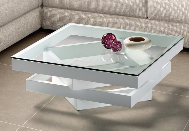 Table basse carre bois et verre
