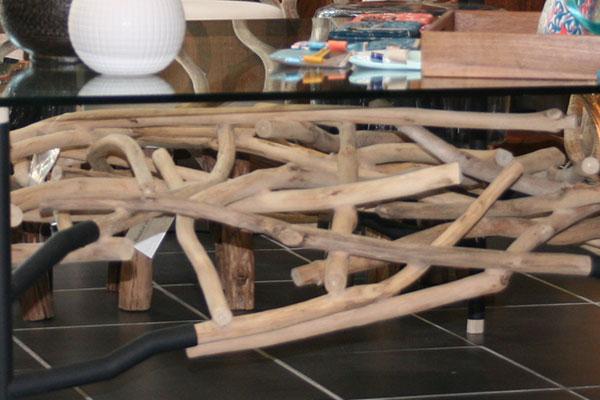 Table basse carré bois flotté
