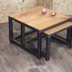 Table basse gigogne style industriel