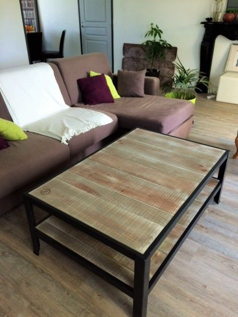 Table basse bois metal double plateau