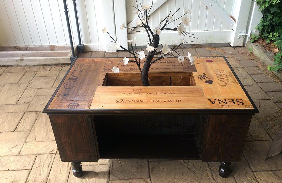 Table basse caissette bois