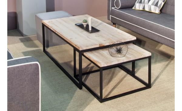 Table basse en bois et fer forgé