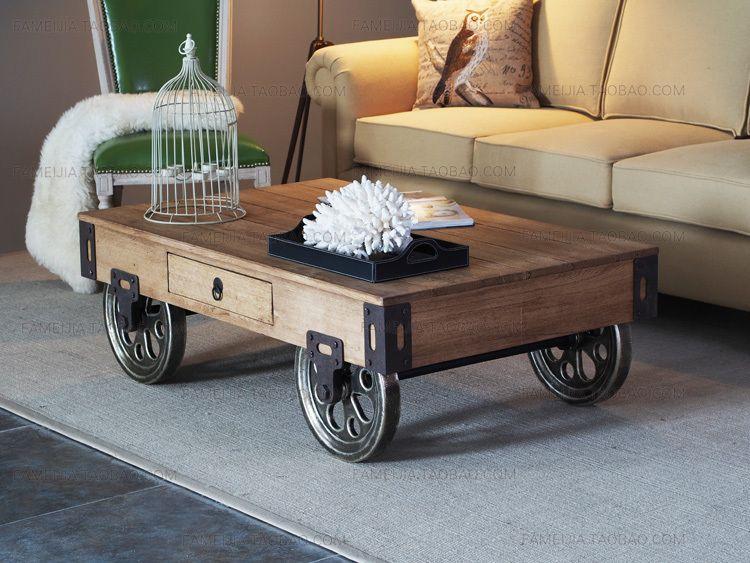 Table basse bois avec roues