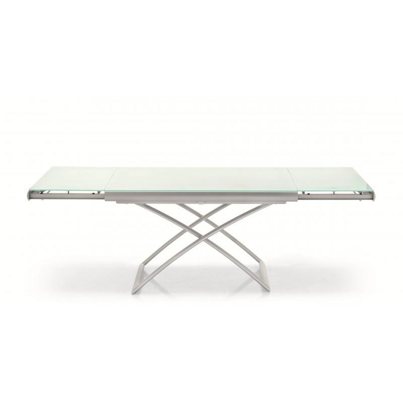 Table basse relevable en verre blanc