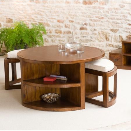 Table basse avec poufs ikea