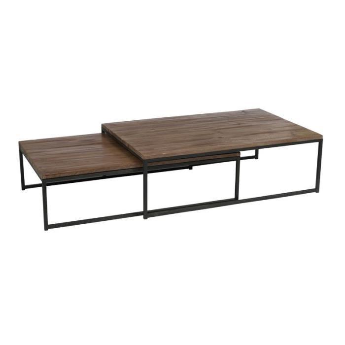 Table basse métallique et bois