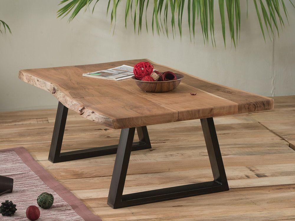 Table basse en bois pied metal