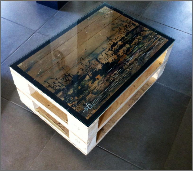 Table basse fer palette