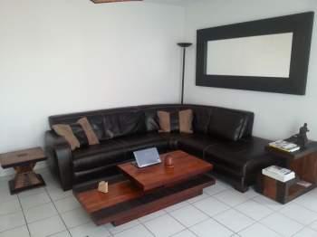 Table basse rectangulaire bois et chiffon