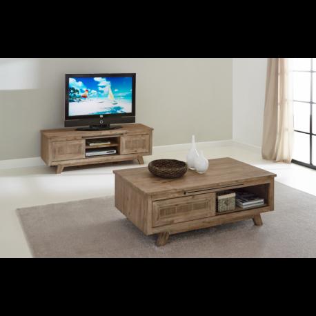 Meuble tv et table basse bois gris