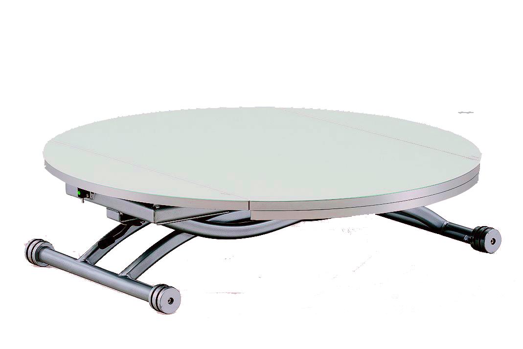 Table basse ronde relevable et extensible