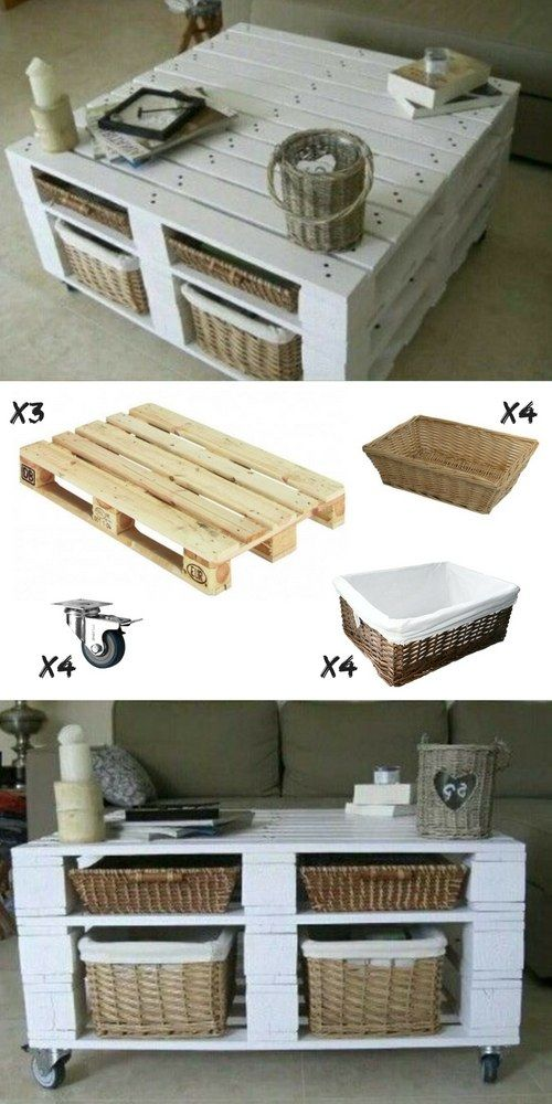 Petite table basse carre en palette