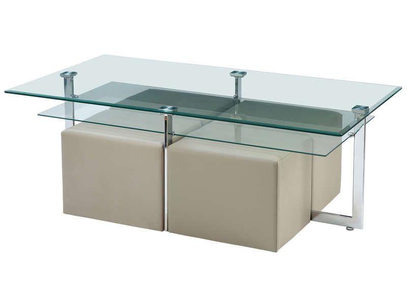 Table basse + 4 poufs conforama
