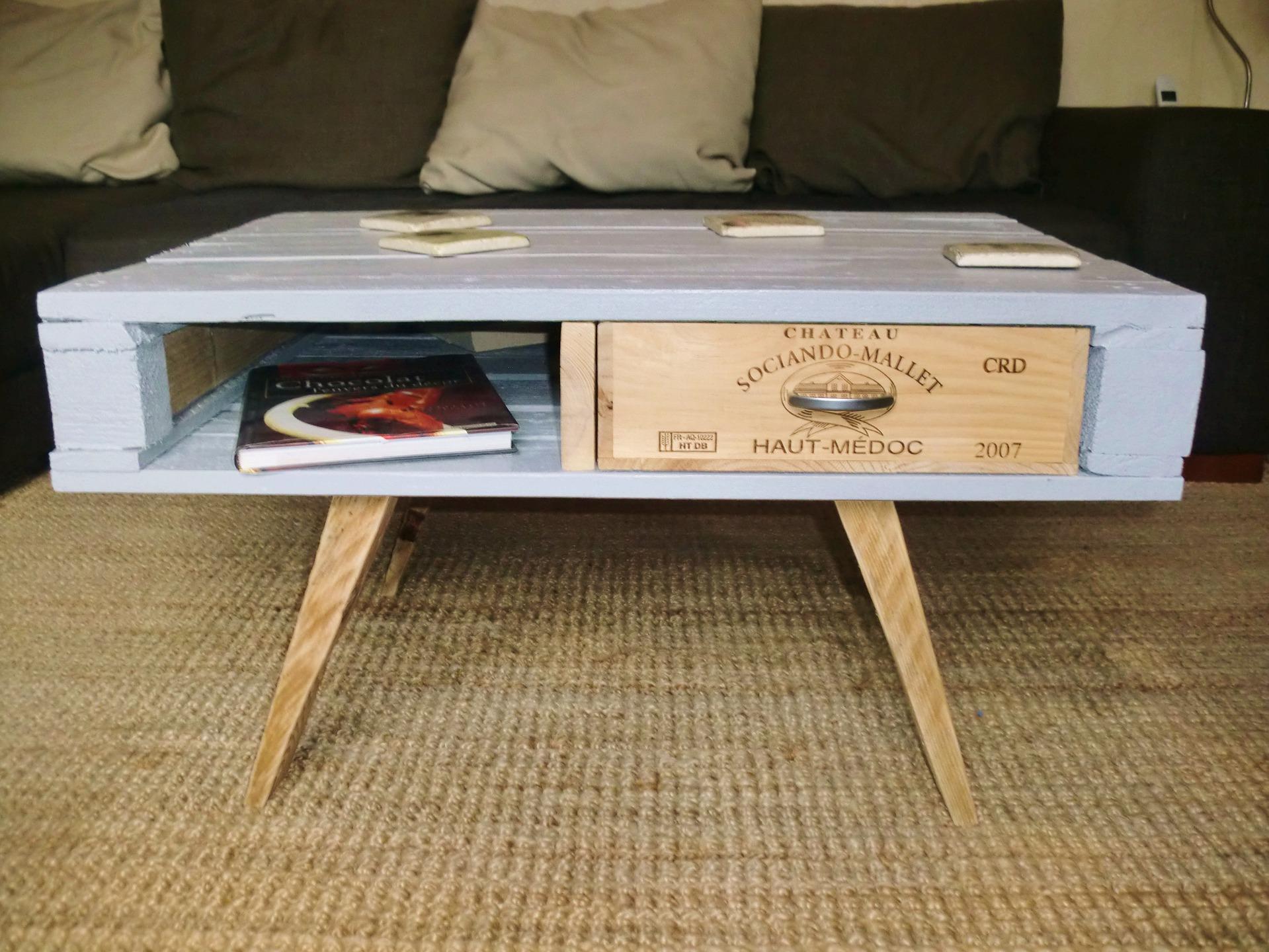 Table basse palette avec pieds