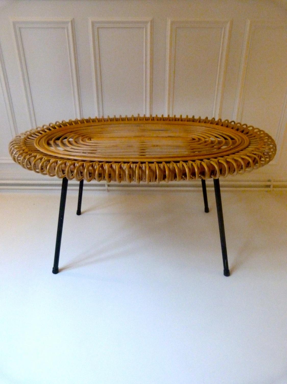 Table basse bois rotin