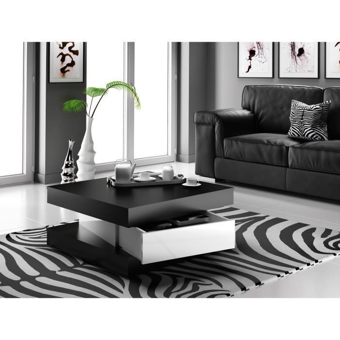Table basse carrée noir brillant