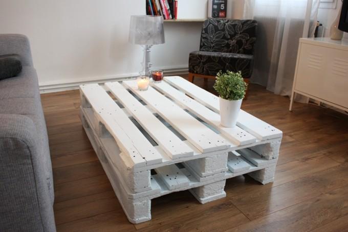 Table basse avec une palette en bois