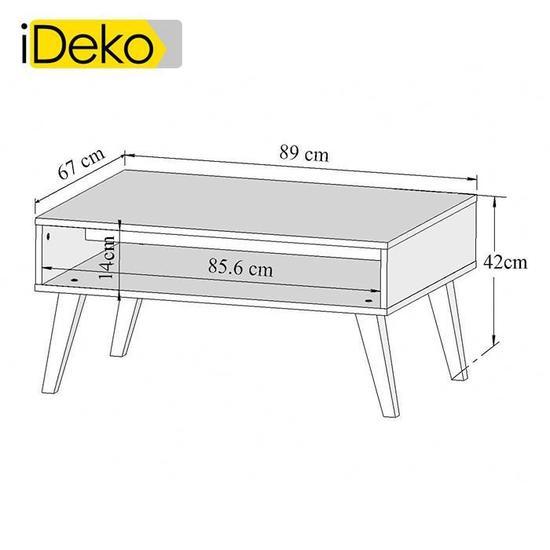 Table basse en bois avec niche et piètement incliné ellinor
