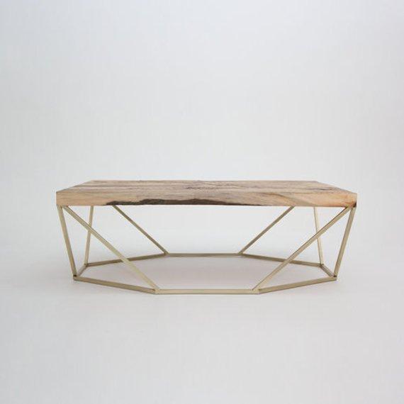 Table basse bois et laiton