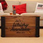Prista | table basse coffre en bois table d'appoint vintage style shabby chic bois massif noyer