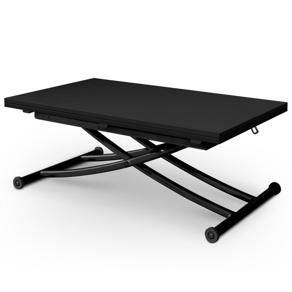Open table basse transformable, plateau relevable - noir