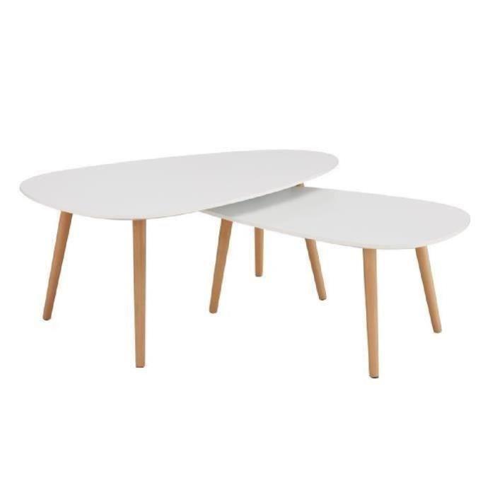 Table basse bois scandinave ovale