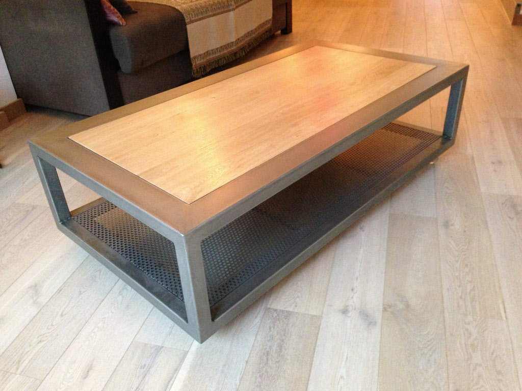 Table basse bois acier brosse