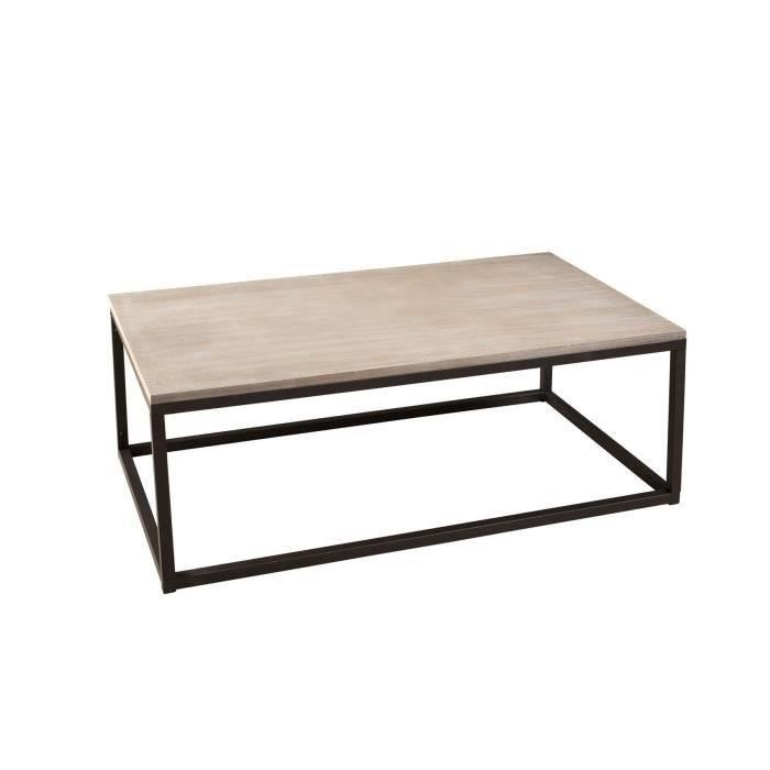 Table basse metal bois rectangulaire
