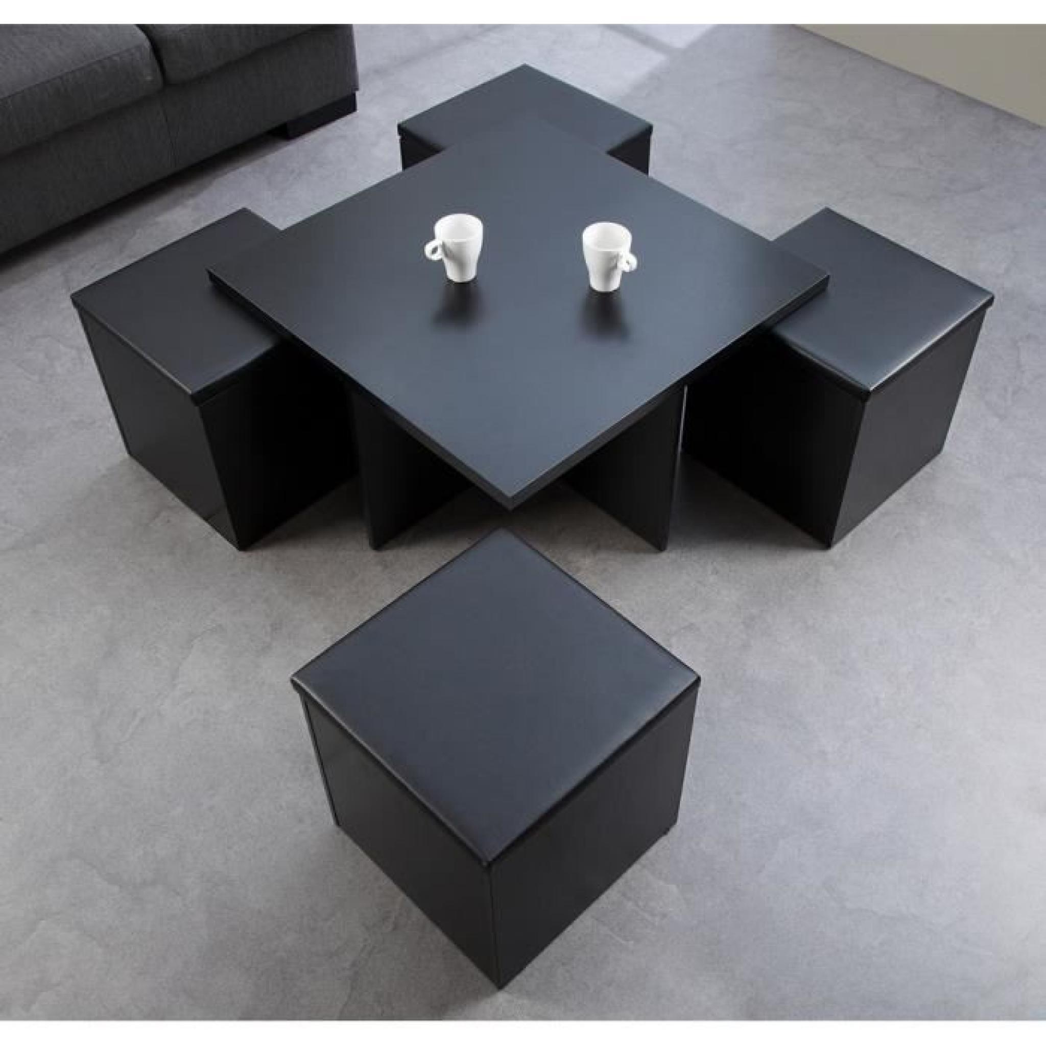 Table basse bois et pouf