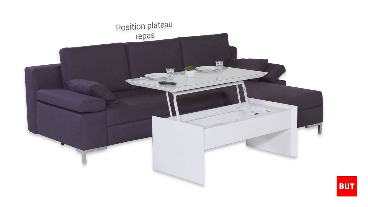 Open table basse transformable, plateau relevable