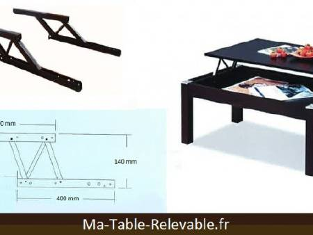 Mécanisme plateau relevable pour table basse