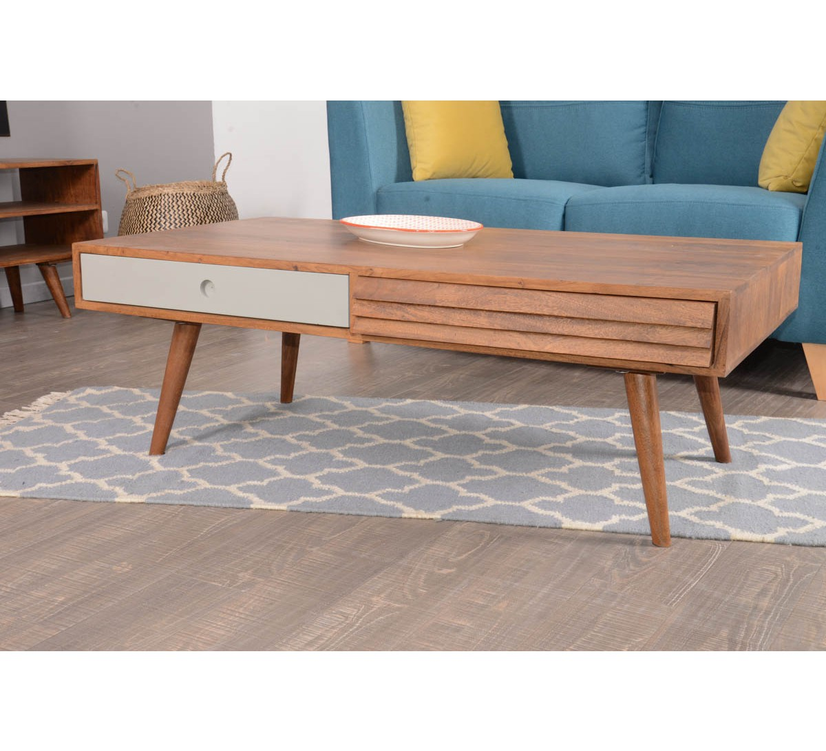 Table basse scandinave turquoise