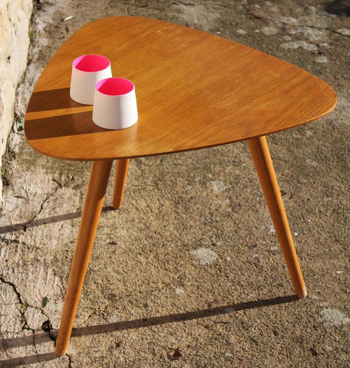 Petite table basse bois vintage
