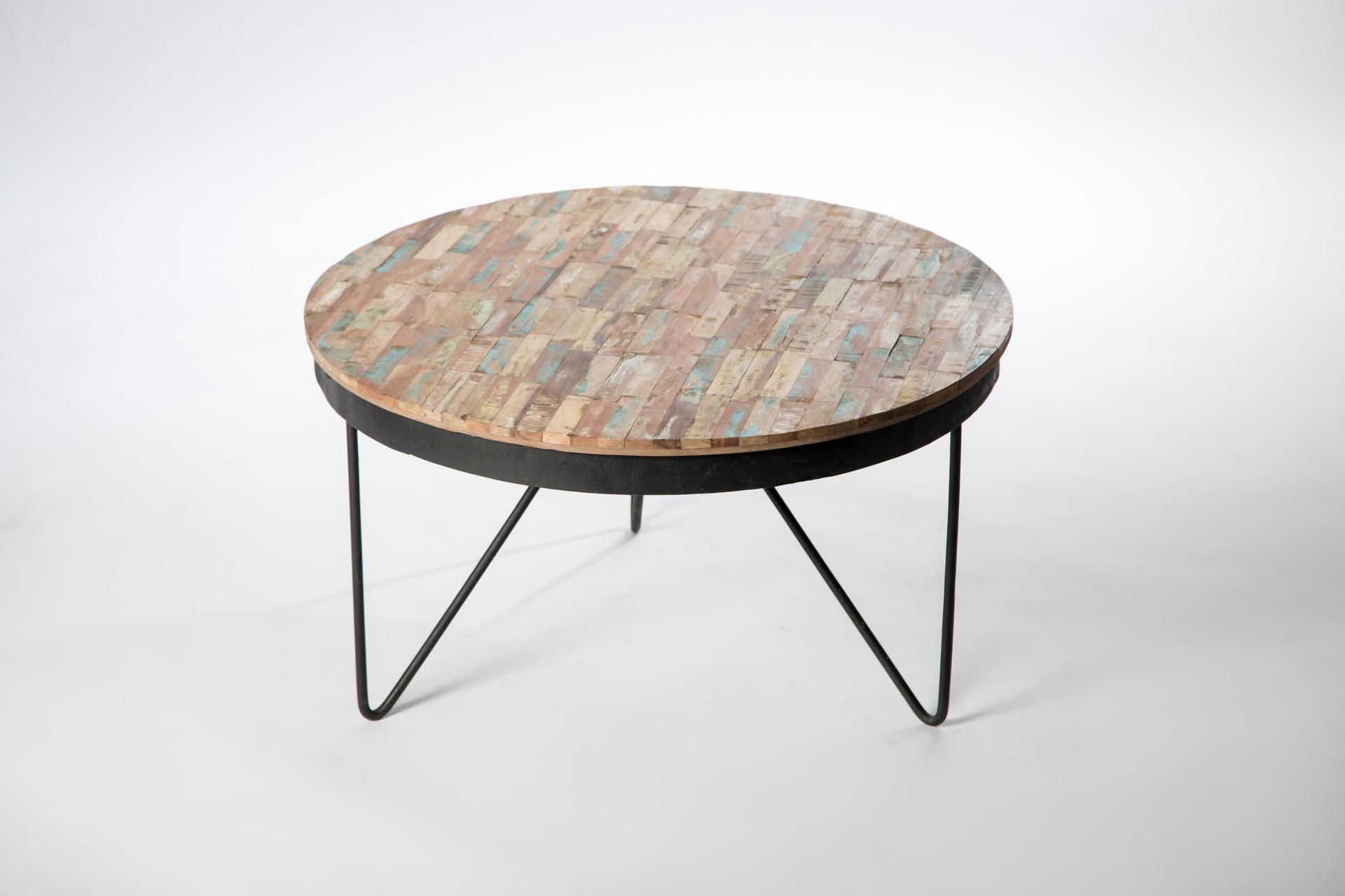 Table basse ronde bois fer
