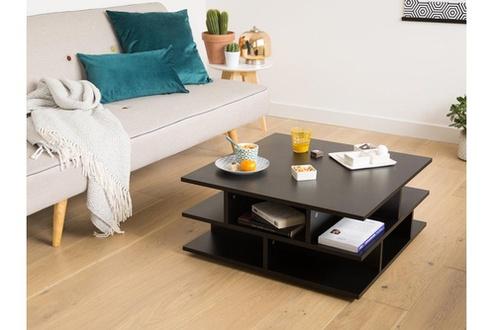 Table basse carrée en bois multicases tower