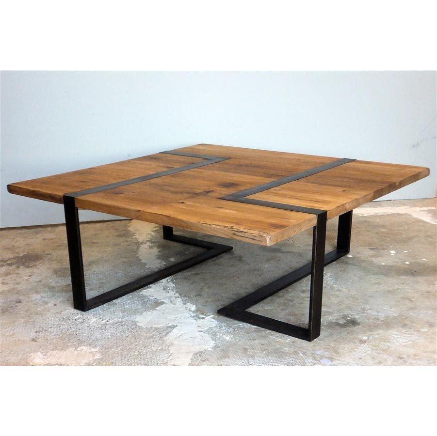 Table basse carrée bois et métal